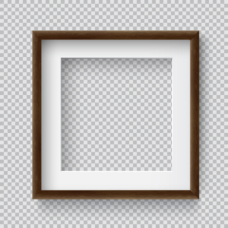 Photo Realistic Square Wood Blank Picture Frame, hanging on a Wall from the Front. 3d mockup isolated on transparent background. Graphic style template.Vector illustration Ilustração