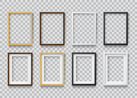 Set of Photo Realistic Square White, Black and Wood Blank Picture Frame, hanging on a Wall from the Front.  3d mockup isolated on transparent background.  Graphic style template. Vector illustration