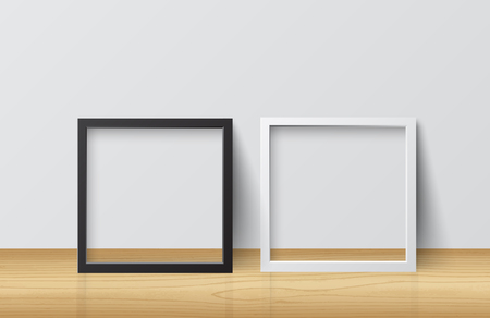 Realistic White and Black Blank Picture Square frame, standing on Light Wood Floor atWhite Wall from the Front. Design Template for Mock Up.Vector illustration