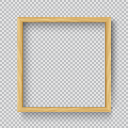 Photo Realistic Square Wood Blank Picture Frame, hanging on a Wall from the Front. 3d mockup isolated on transparent background. Graphic style template.Vector illustration Ilustrace