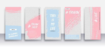 Set of creative universal Editable Stories Template in trendy style on transparent background for social media promo.Love, follow me, this is my life, my summer experience, about me.Vector