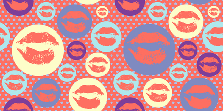Woman lips pattern with trendy living coral colors. Lipstick kiss.
