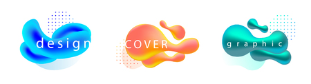 Set of liquid color abstract geometric shapes. Fluid gradient banners with living coral color
