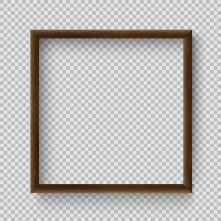 Photo Realistic Square Wood Blank Picture Frame, hanging on a Wall from the Front.  3d mockup isolated on transparent background.  Graphic style template. Vector illustration Ilustração