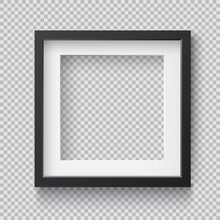 Photo Realistic Square Black Blank Picture Frame, hanging on a Wall from the Front. 3d mockup isolated on transparent background. Graphic style template.Vector illustration