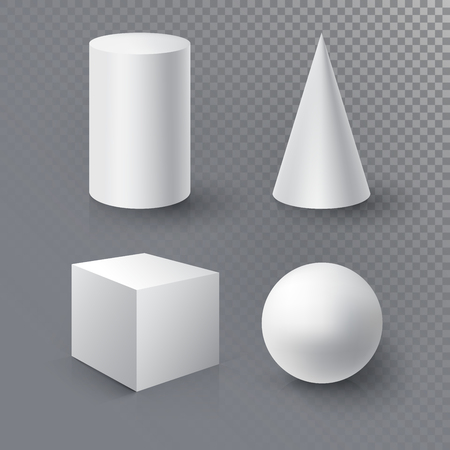 Realistic 3D White Ball, Cube, Cylinder and Cone on transparent background with reflection.  Design Template for Mock Up. Vector illustration