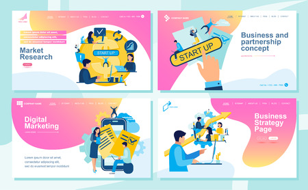 Set of Landing page design templates for SEO, Web Design, Ui Development and Digital Marketing. Business and partnership concept, agreement of parties, success, hi-tech technology, signing documents, working together. Analytics of company information, studying. Vector illustration Ilustração