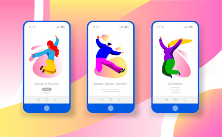 Cartoon character young people dancing concept template. Sport dance picture for website with man and woman for hobby mobile app page onboard screen set for website. Hipsteractivity music. Vector Ilustração