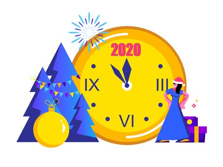 2020 Happy New Year trendy and minimalistic card or background.Small people are preparing for holiday.Modern Cartoon Flat Design Concept for website, Mobile app page, Landing Page.