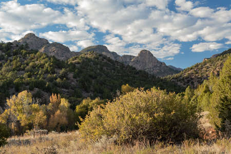 Beautiful sunny landscape photo taken while hiking Beaver Creek in Colorado. Banco de Imagens