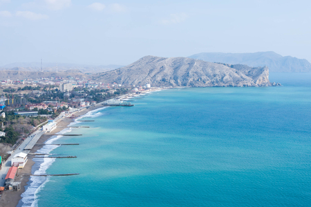sudak: View of the city of Sudak, mountains and the Black Sea