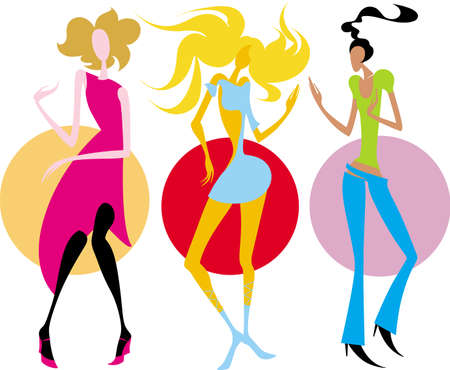womanlike: This image is a vector illustration and can be scaled to any size without loss of resolution. There are three very attractive girls. They are dancing to music at the disco club. Two of they blondes and one is brunette.