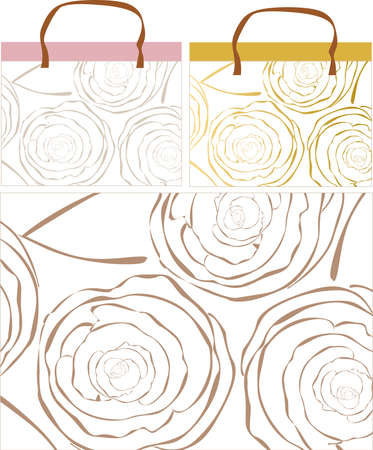 scaled: This image is a vector ornamental from flowers of rose and can be scaled to any size without loss of resolution. There is designer idea of bags, gift paper wrapping and pattern.