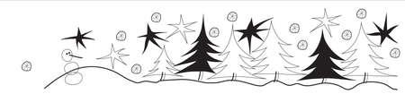 arboles blanco y negro: No hay paisaje de invierno con las estrellas, �rboles de navidad y mu�eco de nieve.