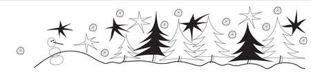 christmas tree illustration: There is winter landscape with stars, Christmas trees and snowman.