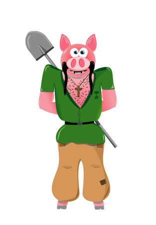 Pig with shovel Vector