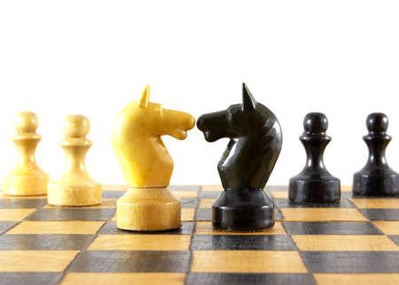 chellange: Chess battle on white background