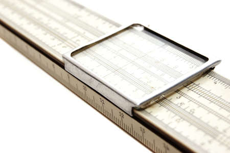 slide rule isolated on a white background photo