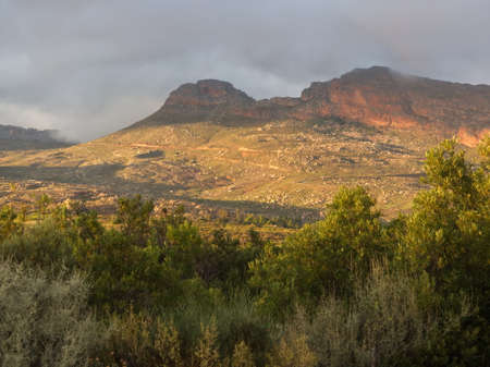 Light effect at dawn on a cloudy day in Northern Cape in South Africa. Climbing spot of Rockland