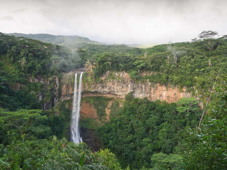 Viewpoint on Chamarel cascade in Mauritius under clouds - huge volcanic hole 写真素材