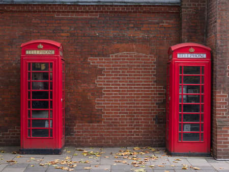 Iconic red phone booths in London street