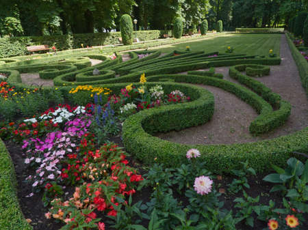 A view of shapes in the beautiful garden full of flowers in the park in Echternach with a blue sky of summer