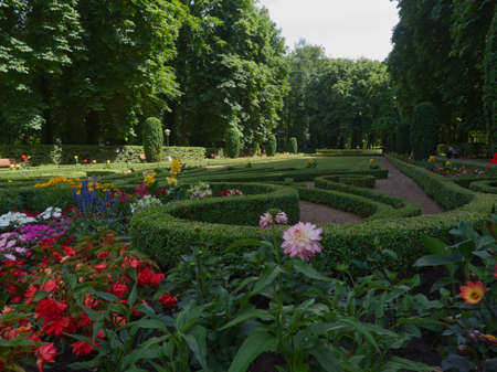 The beautiful garden full of flowers in the park in Echternach with a blue sky of summer Banque d'images
