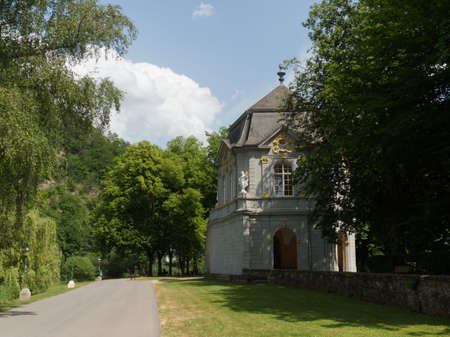 View of the rokoko pavilion in the park in Echternach with a blue sky of summer