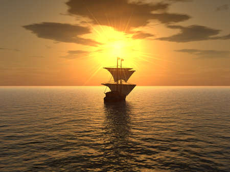 away: The ship floating in a distance on a background of very effective sunset Stock Photo