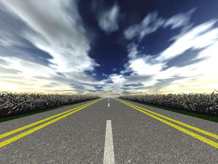 cape mode: Road Asfaltnaja mit einer Kennzeichnung aus der Ferne (mit wilden Vegetation auf einer Stra�e und die wirksame Himmel) - 10mm ein Ziel Lizenzfreie Bilder