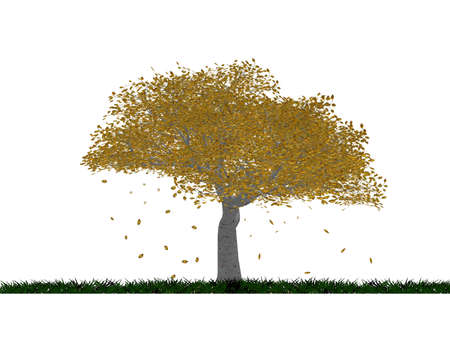 Autumn tree with falling leaves with a fragment of ground (isolated on a white background) Stock Photo - 944957