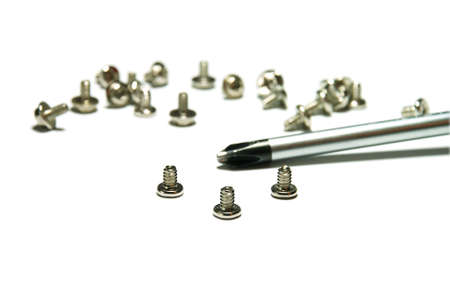 singly: Bolts for assembly of computers.  (it is isolated on a white background)
