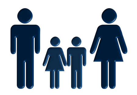 Familia. El padre, madre, hijo, hija - un esquema volumétrico  Foto de archivo - 1745674