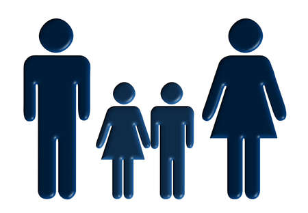 Family. The father, mother, the son, the daughter - a volumetric outline photo