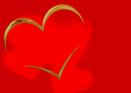 chromeplated: Outlines of the chromeplated gold heart on a red background with shadows in the form of hearts