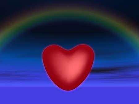 飽きる濃い青空と虹の背景に輝く心