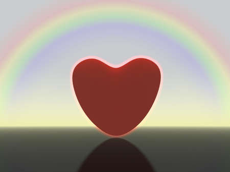 shining heart on a background of the sated dark blue sky and a rainbow photo