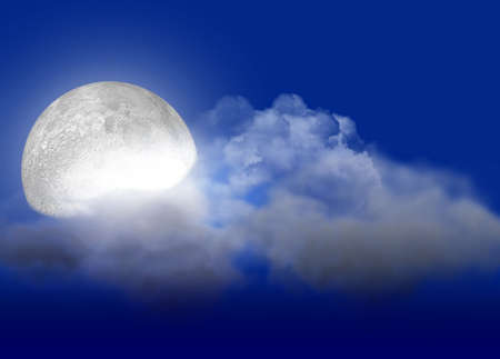 remote view: The full moon with light behind cloudsr Stock Photo