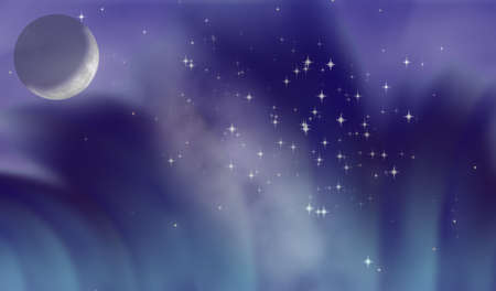 thriller: Moonlight night with elements of the polar lights and the star sky