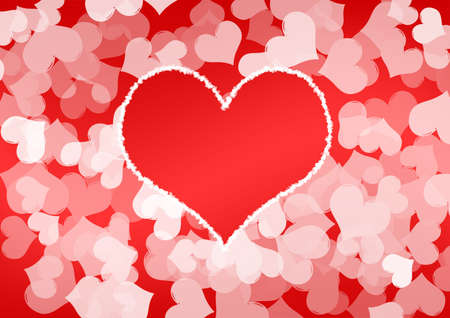 romance bed: Celebratory background from a set of hearts and a greater heart in the center with a contour from hearts Stock Photo