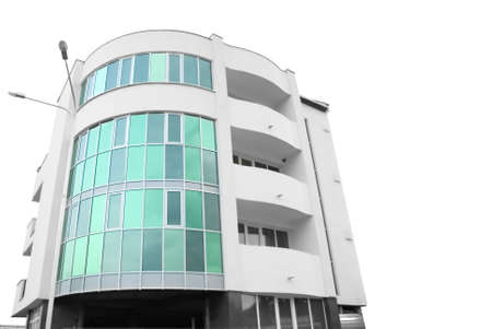 building external: Building of hotel from glass and concrete, with two external lanterns (it is isolated on a white background)