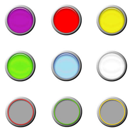 top animated: Set of buttons (volumetric buttons for WEB design)