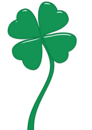 fourleafed: Leaves clovers on stalks isolated on a white background  Stock Photo