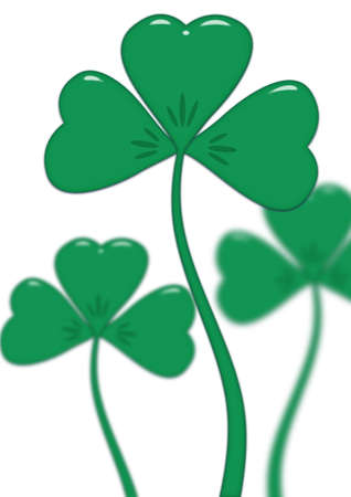 saint pattys day: Leaves trefoil on stalks isolated on a white background (with effect of depth)