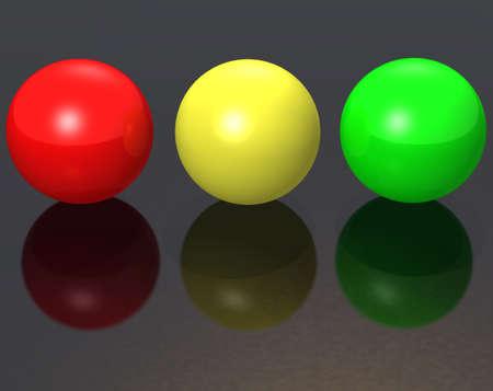 greeen: Three metal spheres - color - red, greeen, yellow