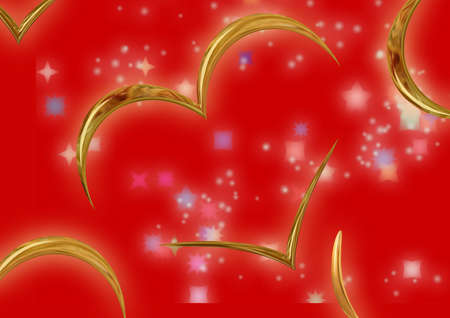 Congratulatory card with Day of Valentine (the chromeplated hearts)