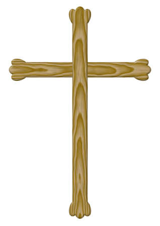 Wooden cross with elements clover (it is isolated on a white background) photo