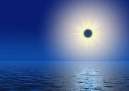 eclipse the sun with a light path on water Stock Photo - 1745893