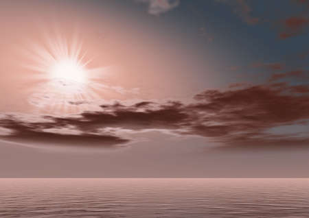 Fantastic alien sunrise.On a background of water of abstract color the bright sun in brown tones. Stock Photo - 1746202