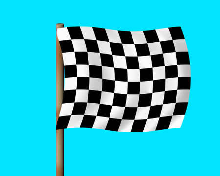 the fastest: Finishingstarting flag (completely isolated on a blue background) Stock Photo